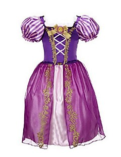 גזרת A באורך הקרסול שמלה לנערת הפרחים  - אורגנזה שרוול קצר עם תכשיטים עם ריקמה