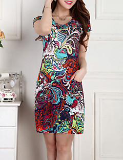 Women's Casual/Print/Cute/Plus Sizes Micro-elastic Short Sleeve Above Knee Dress (Chiffon/Polyester/Nylon)