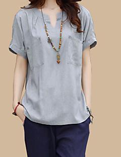 Kortærmet V-hals Tynd Kvinders Blå / Hvid / Grå Ensfarvet Vintage / Street I-byen-tøj Bluse,Polyester