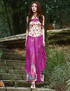 Kvinders Kineseri Bredt Bukseben Bukser Uelastisk Polyester