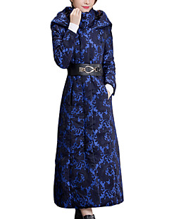 Spring/Winter Appointment Casual Plus Size Women's Coat Hooded Long Sleeve Thickened Temperament Overcoat Print Blue