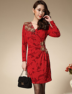 Damen Hülle Kleid-Formal Anspruchsvoll Jacquard V-Ausschnitt Übers Knie Langarm Rot Polyester Frühling / Herbst Mittlere Hüfthöhe