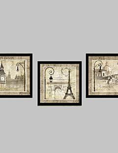Építészet Bekeretezett vászon / Bekeretezett szett Wall Art,PVC Fekete Háttéranyag nélkül a Frame Wall Art