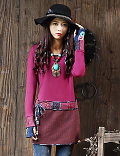 Damen Geometrisch Retro Ausgehen T-shirt,Rundhalsausschnitt Frühling / Herbst Langarm Rosa Kunstseide / Polyester / Elasthan Mittel