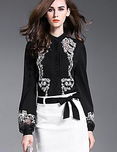 Feminino Camisa Casual Sofisticado Outono,Bordado Preto Poliéster Colarinho de Camisa Manga Longa Opaca
