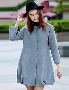 Alkalmi / Formális Egyszerű Téli-Női Kabát,Egyszínű Kerek Hosszú ujj Szürke Gyapjú / Spandex Közepes vastagságú