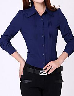 Women's Formal Simple All Seasons Shirt,Solid Long Sleeve Blue / White Medium