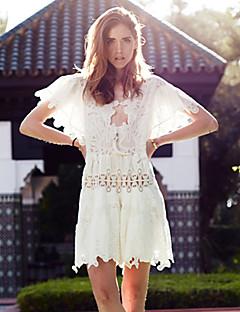 Damen Hülle Kleid-Ausgehen Anspruchsvoll Solide Rundhalsausschnitt Übers Knie Kurzarm Weiß Baumwolle / Leinen / Andere SommerMittlere