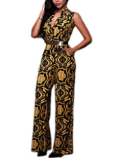 Women's Print Gold JumpsuitsSexy V Neck Sleeveless