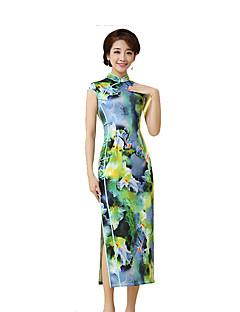 나와 클래식/전통적 롤리타 코스프레 로리타 드레스 라이트 그린 빈티지 짧은 소매 긴 길이 용 실크