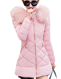 Women's Long Padded CoatStreet chic Plus Size / Casual/Daily Solid Slim Hin Thin Long Sleeve Hooded
