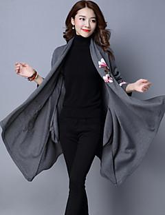 רקמה צווארון חולצה וינטאג' יום יומי\קז'ואל בלשית נשים,שחור / אפור שרוול ארוך סתיו / חורף בינוני (מדיום) כותנה