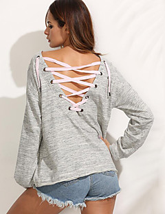 Women's Casual/Daily Street chic Spring / Fall T-shirtSolid Round Neck Long Sleeve Gray Cotton Medium