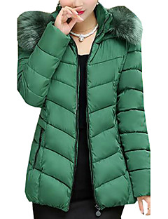 Women's Solid Plus Size Fur Collar Slim Hin Thin Padded Coat,Simple Hooded Long Sleeve