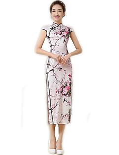 Egyrészes/Ruhák Cosplay Lolita ruhák Világos bíbor Virágos Rövid ujjú Hosszú hossz Mert Poliészter