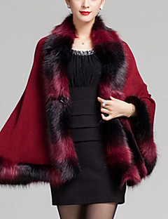 Women's Casual/Daily Vintage Long Cloak / Capes,Patchwork Blue / Pink / Red / Black / Brown Wool / AcrylicSpring /