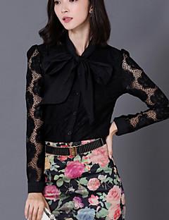 Vrouwen Eenvoudig Herfst Overhemd,Casual/Dagelijks Patchwork Opstaand Lange mouw Wit / Zwart Katoen Dun