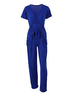 婦人向け セクシー ポリエステル / スパンデックス ジャンプスーツ,マイクロエラスティック 薄手 半袖