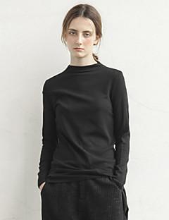 rizhuo 여성 캐주얼 / 매일 간단한 가을 t-shirtsolid 라운드 넥 긴 소매 검은 색면 / 스판덱스 매체