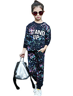 Girl's Casual/Daily Print Clothing Set,Cotton Winter / Fall Blue / Pink