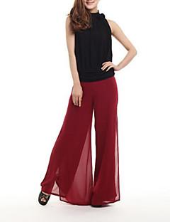 Women's Solid Blue / Red / White / Beige / Black / Orange / Purple Wide Leg Pants , Casual / Day / Beach