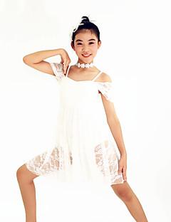 Dança de Salão Vestidos Mulheres Crianças Actuação Elastano Poliéster Renda 2 Peças Manga Curta Alto Vestido Tiaras