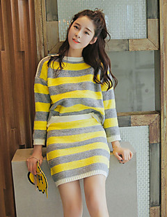 Women's Going out / Casual/Daily Cute Fall Set SkirtStriped Round Neck Long Sleeve Blue / Yellow Polyester Medium