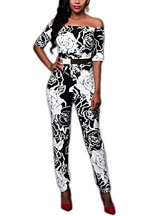 Women's Print Black JumpsuitsSexy Boat Neck  Length Sleeve