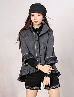 Our Story Women's Going out Simple JacketsSolid Crew Neck Long Sleeve Winter Gray Wool / Polyester Thick