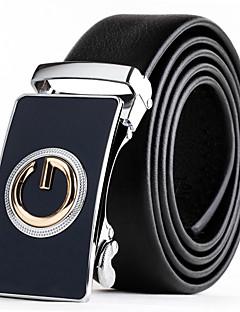 Mens Suits Dress Black Leather Waist Belt Strap Blue Gold Automatic Belt Buckle