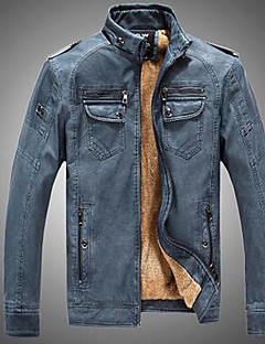 Men's Casual/Daily Punk & Gothic Leather Jackets,Solid Long Sleeve Winter PU