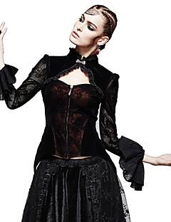 Camicia Da donna Casual Vintage Autunno,Tinta unita Colletto alla coreana Poliestere / Elastene Nero Manica lunga Medio spessore
