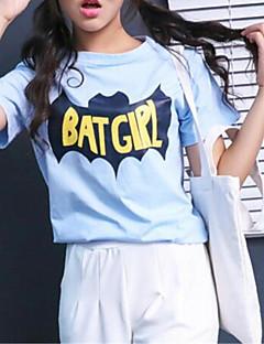 여성의 프린트 라운드 넥 짧은 소매 티셔츠,스트리트 쉬크 데이트 블루 면 중간