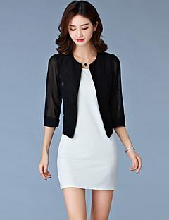 Damen Solide Einfach Lässig/Alltäglich Blazer,Rundhalsausschnitt Frühling / Herbst ¾-Arm Weiß / Schwarz Baumwolle Dünn