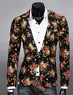 Men's Patchwork Work BlazerCotton / Polyester Long Sleeve Black / Blue / White