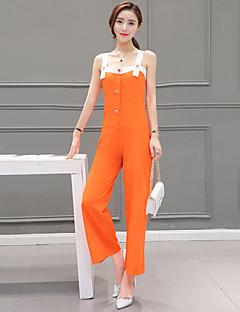 Women's Solid Orange JumpsuitsVintage Strap Sleeveless
