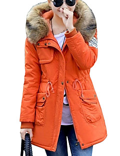 Women's Long Padded CoatStreet chic Plus Size / Fur Trim Thick Hin Thin Casual/Daily Solid Long Sleeve Hooded