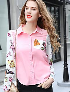 AJIDUO® Damen Hemdkragen Lange Ärmel Shirt & Bluse Blau / Rosa-A9317