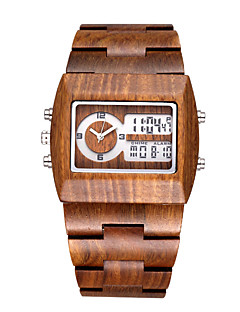 BEWELL  Men's Brand Multi-function Sandalwood Watches with Date/ Week/Alarm/ LED Back Light Quartz Relogio Masculino