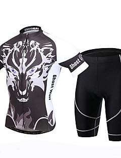 XINTOWN Camisa com Shorts para Ciclismo Homens Manga Curta MotoRespirável Secagem Rápida Resistente Raios Ultravioleta Tapete 3D Redutor