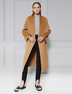 c + beeindrucken Frauen einfache coatsolid Revers kulminierte lange Ärmel Winter braun Wolle Medium Ausgehen