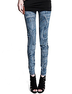 Women Print Denim Legging,Polyester Spandex Core Spun Yarn