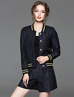 Damen Gestreift Einfach Ausgehen Set Hose,Ständer Frühling Langarm Blau Baumwolle / Polyester Undurchsichtig