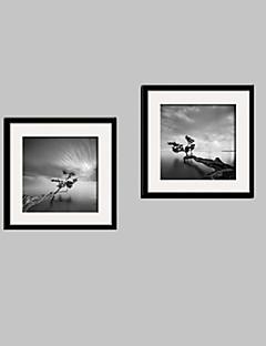 Landscape / Floral/Botanical Framed Canvas / Framed Set Wall Art,PVC Black No Mat With Frame Wall Art