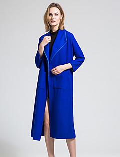 BORME® 女性 シャツカラー ロング ウール&ブレンド ネービーブルー-Y071