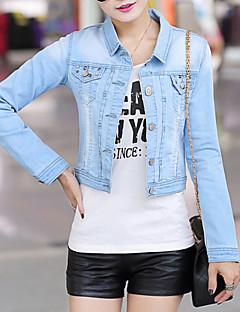 Women's Blue Denim Jacket , Casual/Cute Long Sleeve