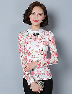 Chemisier Aux femmes,Imprimé Travail / Grandes Tailles Chinoiserie Automne / Hiver Manches Longues Mao Rose Coton / Polyester Moyen