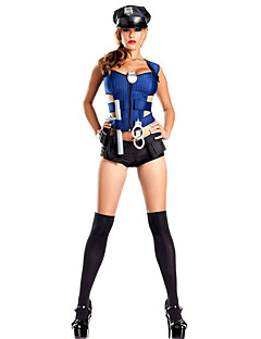 Cosplay Costumes Party Costume Police Career Costumes Festival/Holiday Halloween Costumes Blue SolidShirt Dress Socks More Accessories