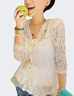 Alkalmi Szexi V-alakú-NőiEgyszínű Tavaszi Nyári Őszi Hosszú ujj Fehér Poliészter Vékony