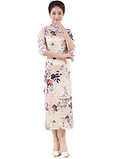 Egyrészes/Ruhák Cosplay Lolita ruhák Rózsaszín Virágos 3/4-es ujj Hosszú hossz Mert Poliészter